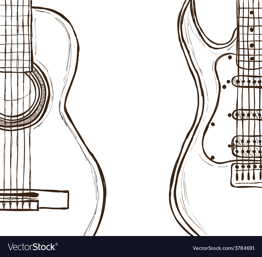 Acoustic and electric guitar vector | Price: 1 Credit (USD $1)
