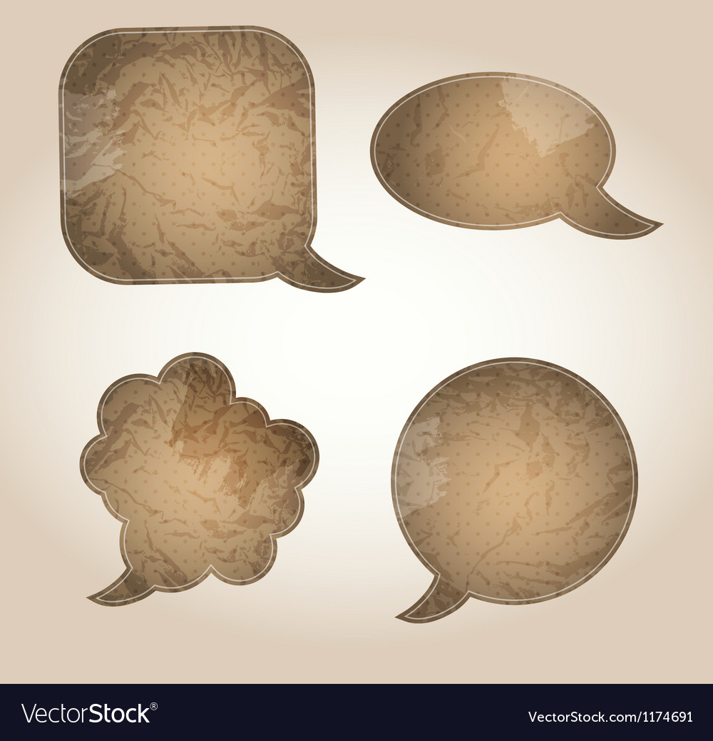 Aged paper speech bubbles vector | Price: 1 Credit (USD $1)