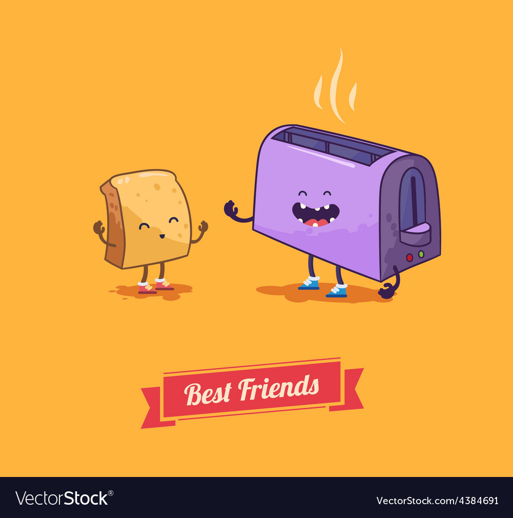 Best friends cartoon breakfast vector | Price: 1 Credit (USD $1)