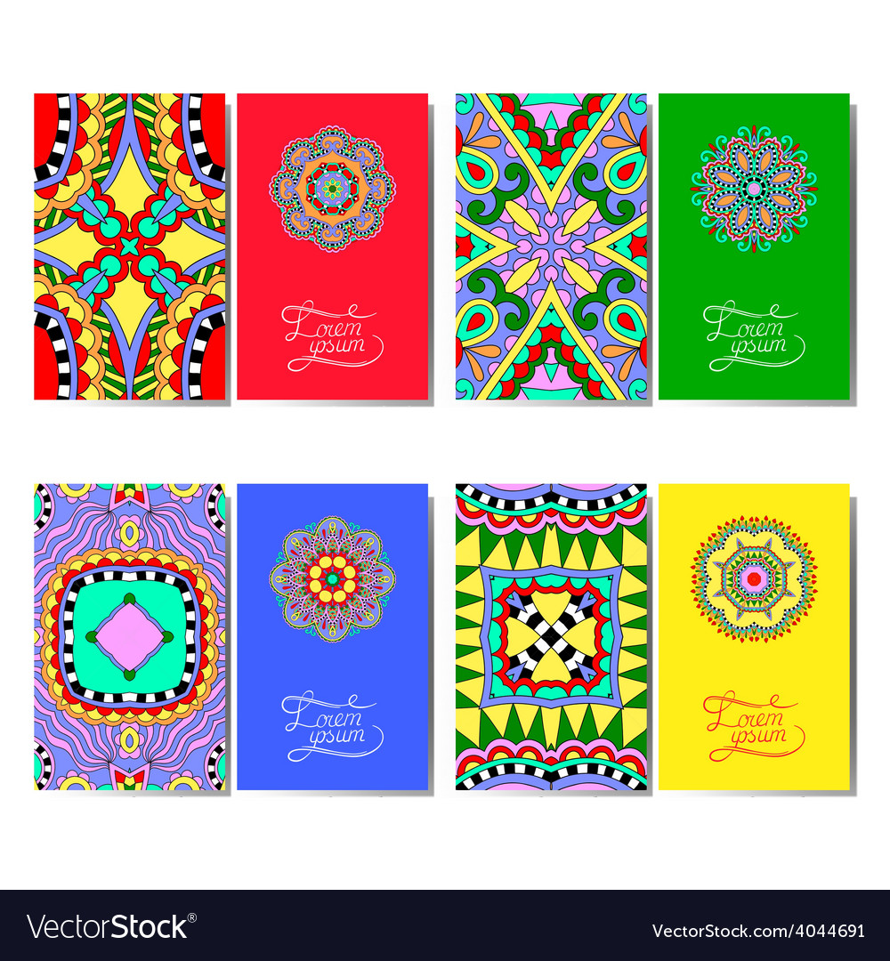 Collection of ornamental floral business cards vector   Price: 1 Credit (USD $1)