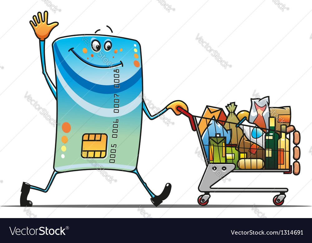 Credit card with shopping cart vector | Price: 1 Credit (USD $1)