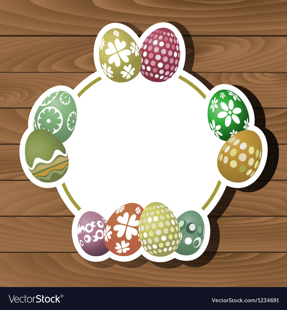 Easter eggs on wood background 0102 vector | Price: 1 Credit (USD $1)