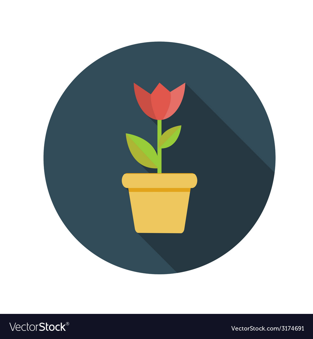 Flat design concept flower in pot with long vector | Price: 1 Credit (USD $1)