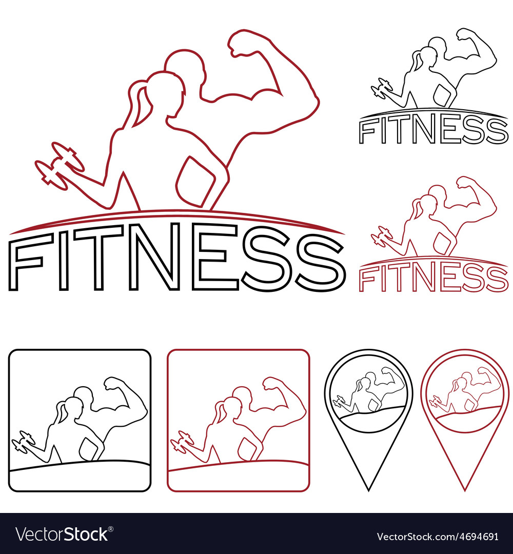 Man and woman of fitness outline silhouette vector | Price: 1 Credit (USD $1)