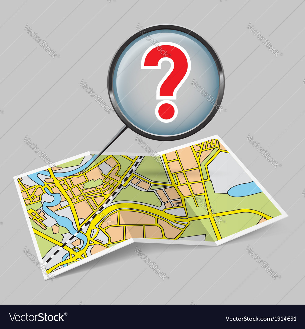 Map booklet with question mark vector | Price: 1 Credit (USD $1)