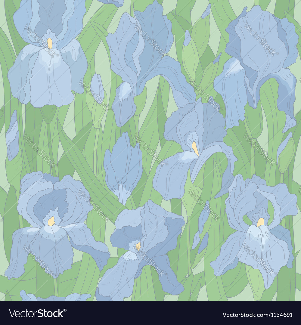 Seamless pattern with irises vector   Price: 1 Credit (USD $1)