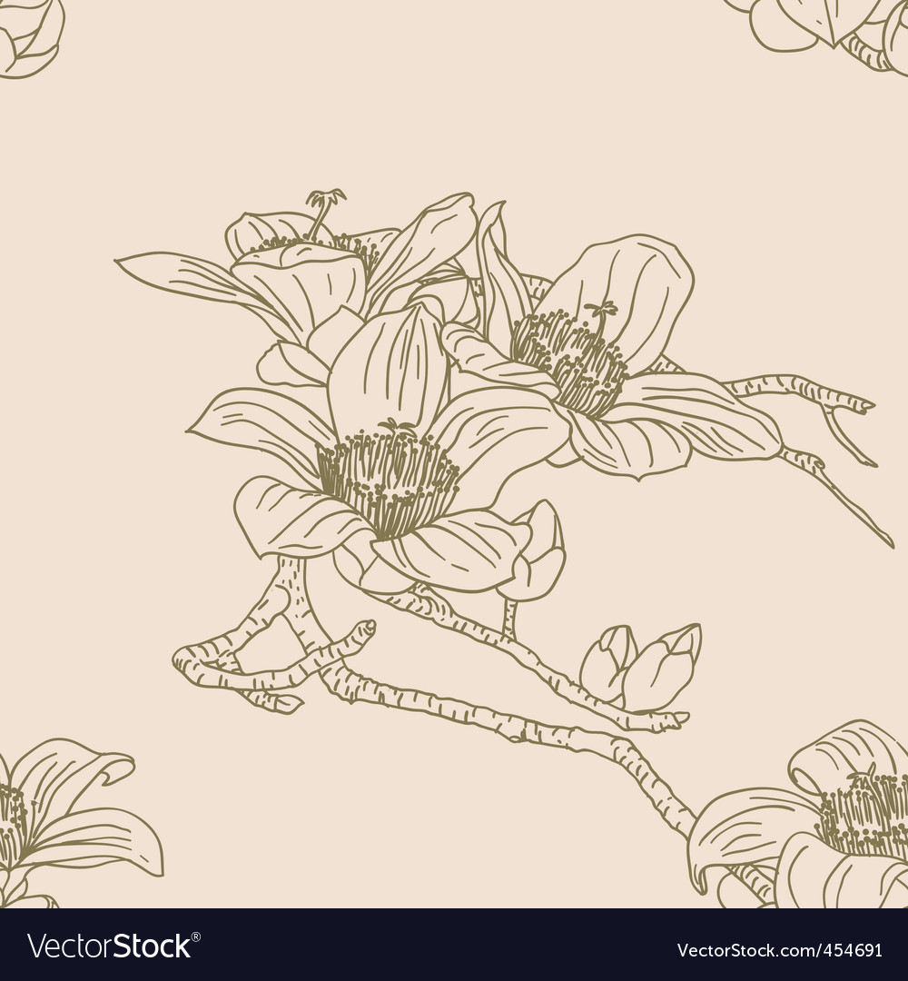Seamless wallpaper with orchid flowers vector | Price: 1 Credit (USD $1)