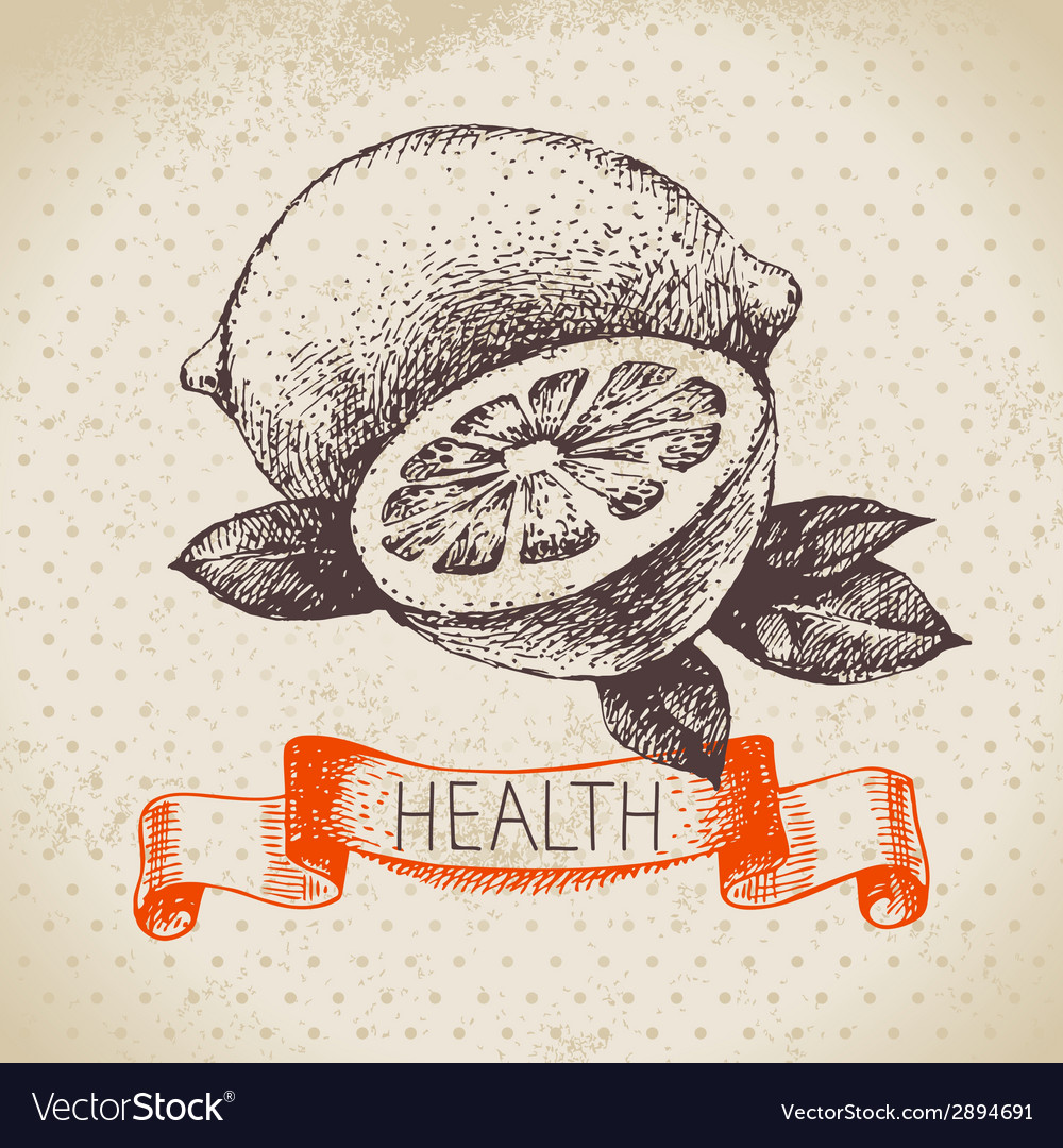 Sketch healthy background with lemon vector | Price: 1 Credit (USD $1)