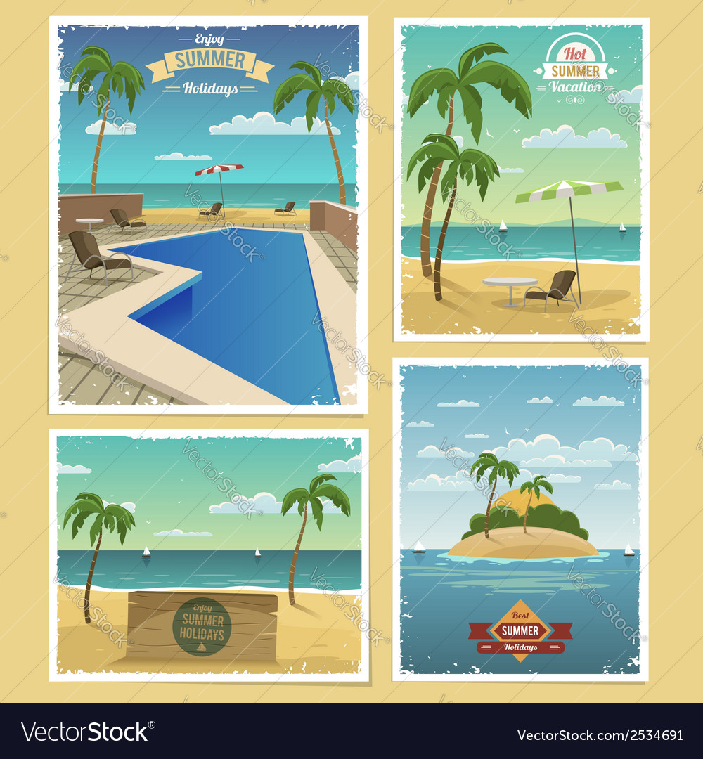 Summer retro backgrounds vector | Price: 3 Credit (USD $3)