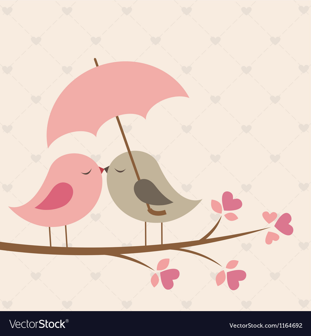 Birds under umbrella vector | Price: 1 Credit (USD $1)