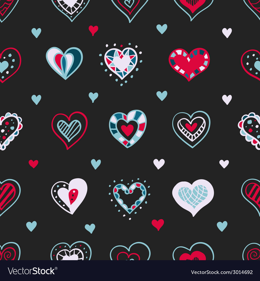Bright hand drawn doodle hearts st valentine day vector | Price: 1 Credit (USD $1)
