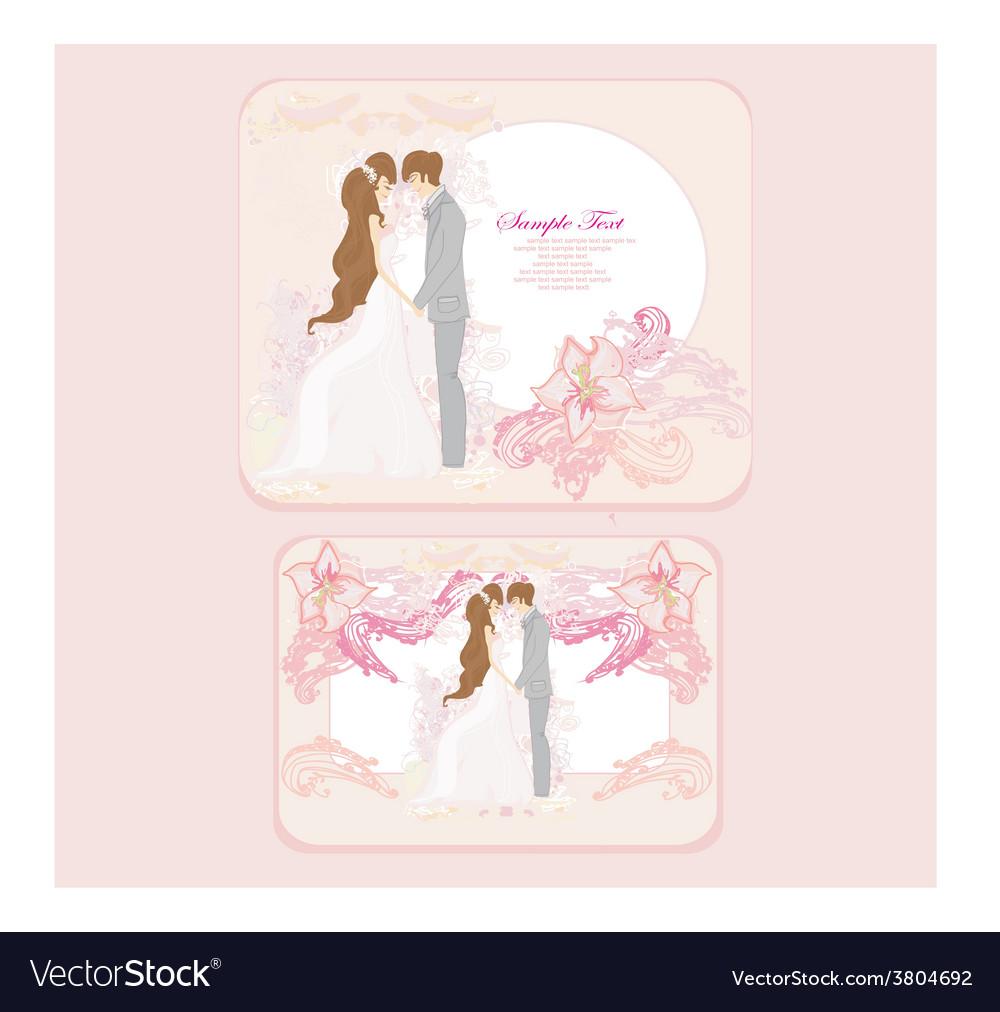 Elegant wedding invitation with wedding couple set vector | Price: 1 Credit (USD $1)