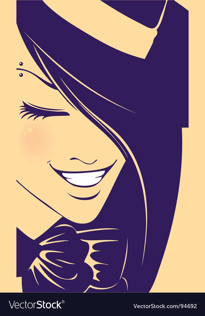 Girl wearing hat vector | Price: 1 Credit (USD $1)