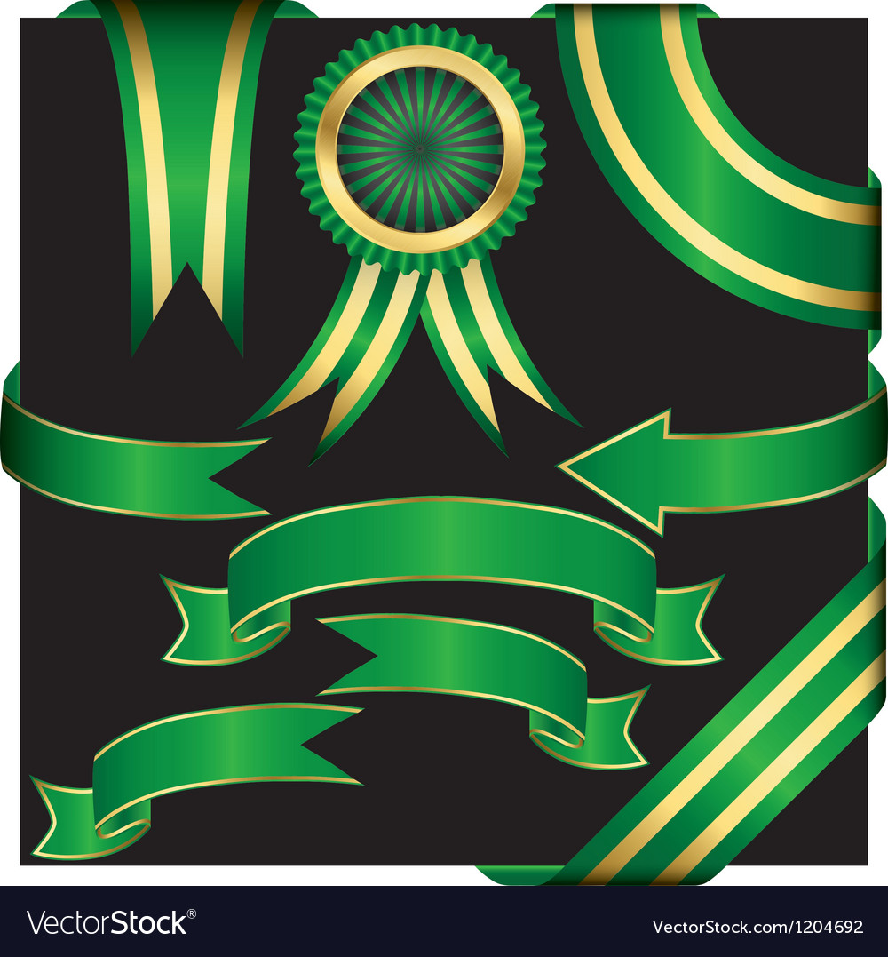 Gold ribbon collection vector | Price: 1 Credit (USD $1)