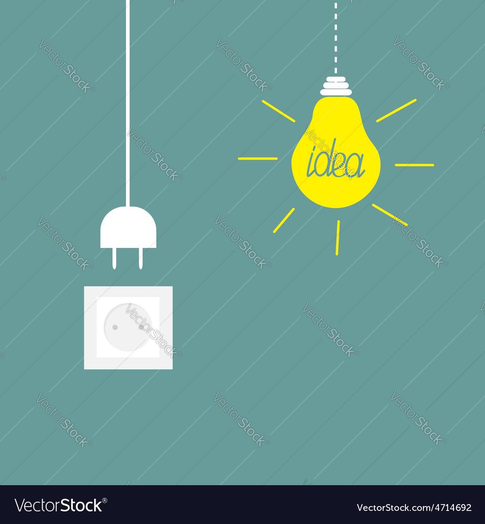Hanging yellow light bulb socket cord plug idea vector | Price: 1 Credit (USD $1)