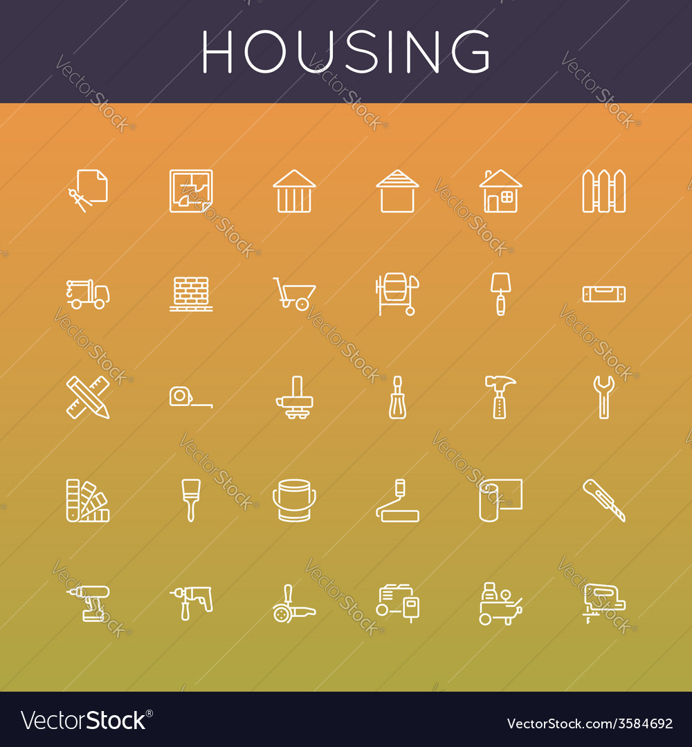 Housing line icons vector | Price: 1 Credit (USD $1)