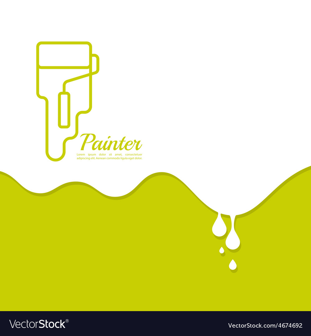 Paint roller with a strip of paint and drops vector | Price: 1 Credit (USD $1)