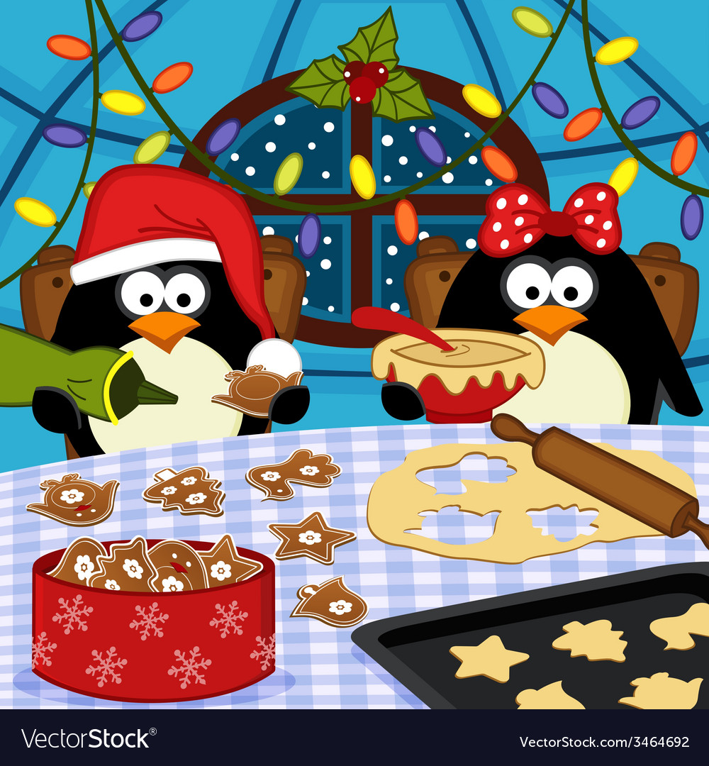 Penguins bake christmas cookies vector | Price: 1 Credit (USD $1)