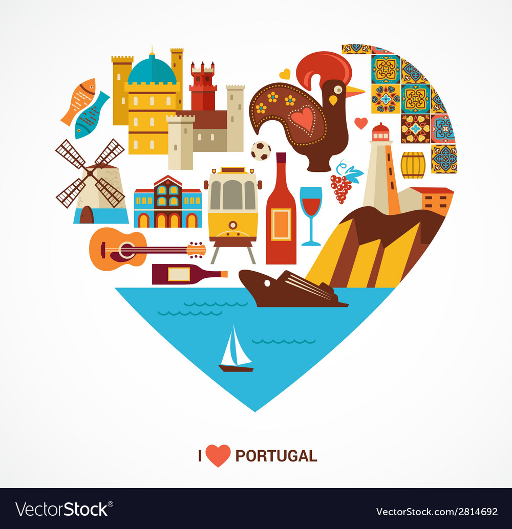 Portugal love - heart with icons vector | Price: 1 Credit (USD $1)