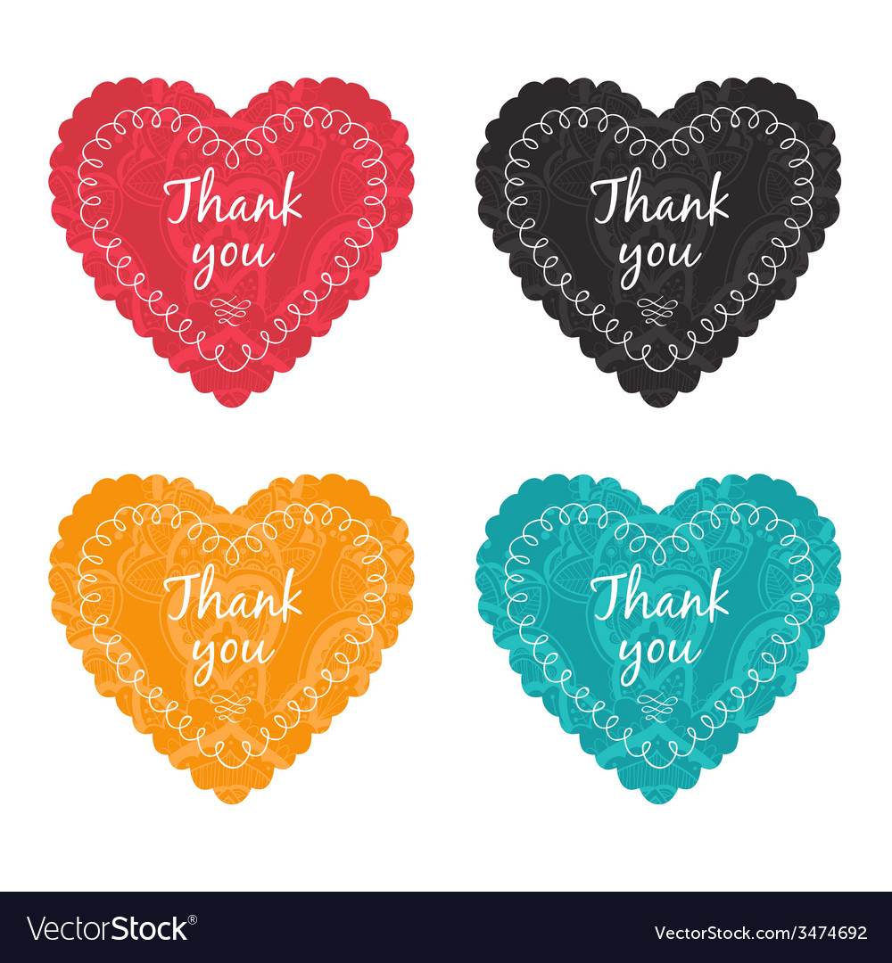 Thank you label set vector | Price: 1 Credit (USD $1)