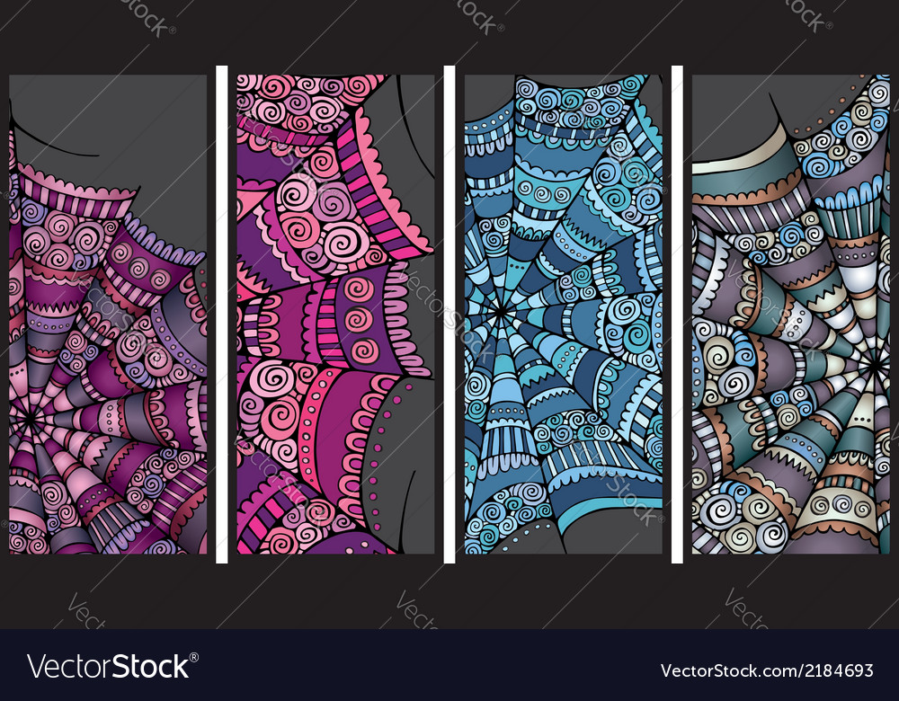 Abstract cartoon spider web background set vector | Price: 1 Credit (USD $1)
