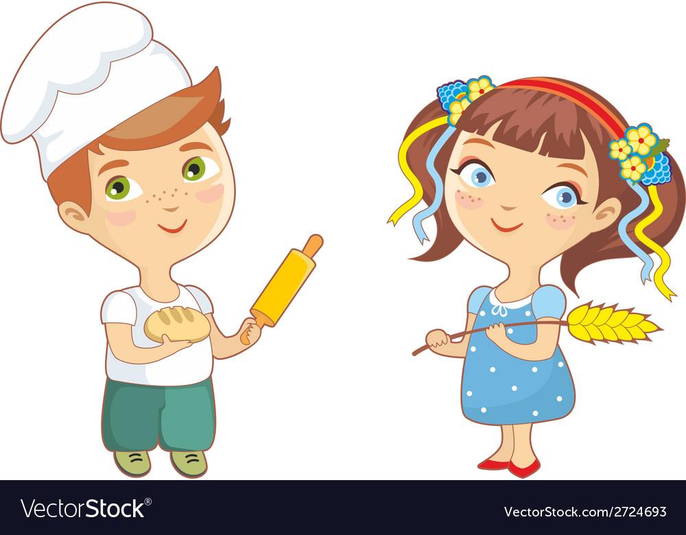 Baker children vector | Price: 1 Credit (USD $1)