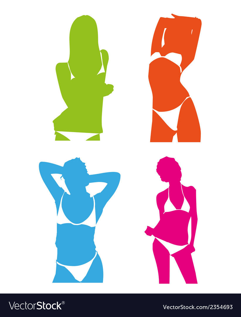 Bikini girl colorful set vector | Price: 1 Credit (USD $1)