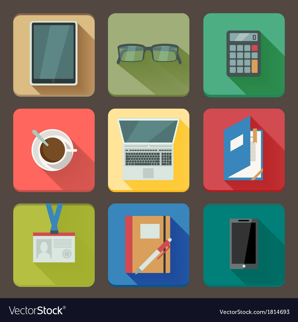 Business set of workplace icons vector | Price: 1 Credit (USD $1)