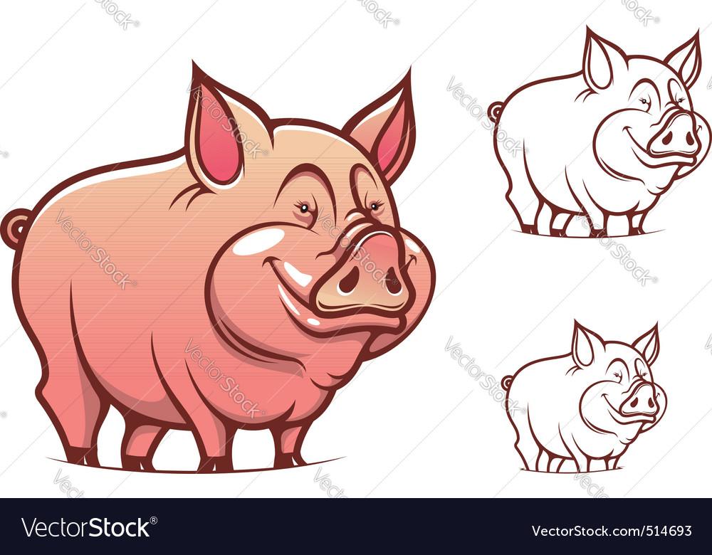 Cartoon pink pig vector | Price: 1 Credit (USD $1)