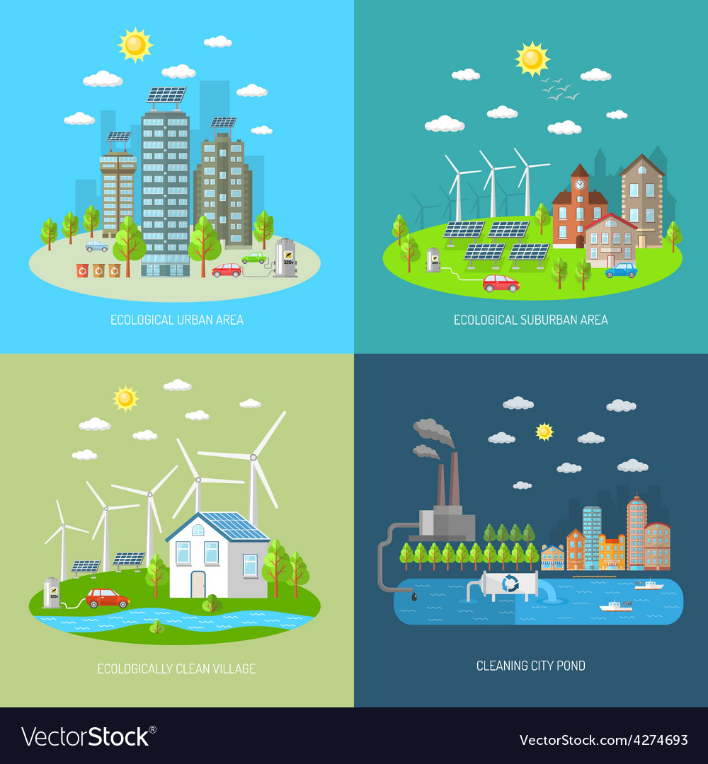 Eco city design concept set vector | Price: 1 Credit (USD $1)