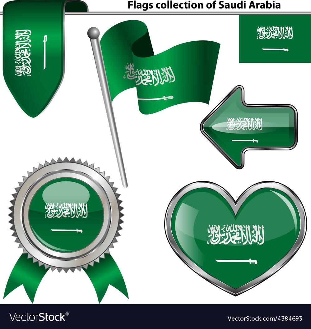 Glossy icons with saudi arabian flag vector | Price: 1 Credit (USD $1)