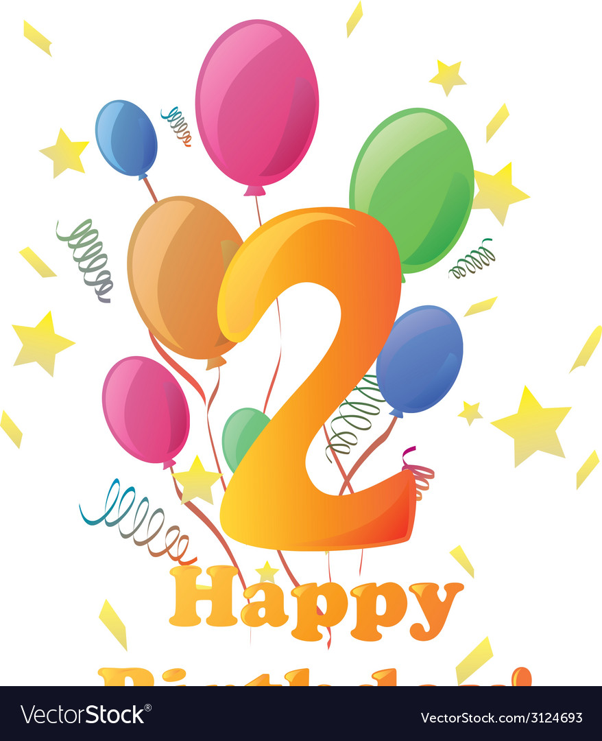 Happy birthday two years no background vector | Price: 1 Credit (USD $1)
