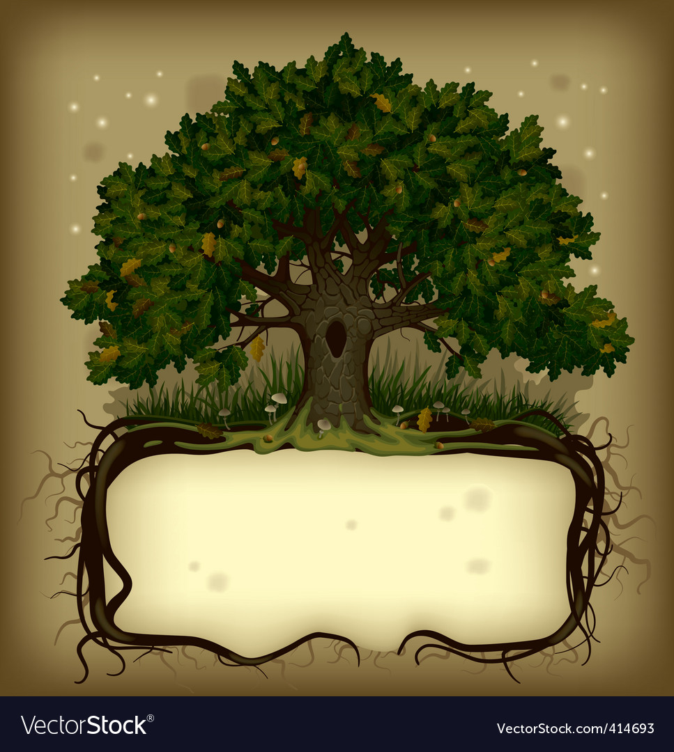 Oak tree with a banner vector | Price: 1 Credit (USD $1)