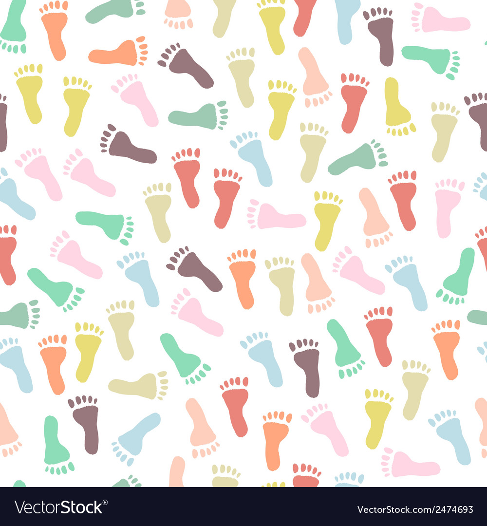Seamless pattern with colorful footprints vector | Price: 1 Credit (USD $1)