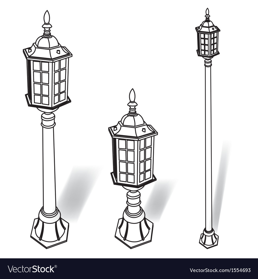 Street lamp outline vector | Price: 1 Credit (USD $1)