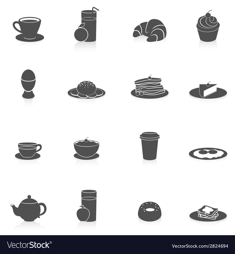 Breakfast icons black vector | Price: 1 Credit (USD $1)