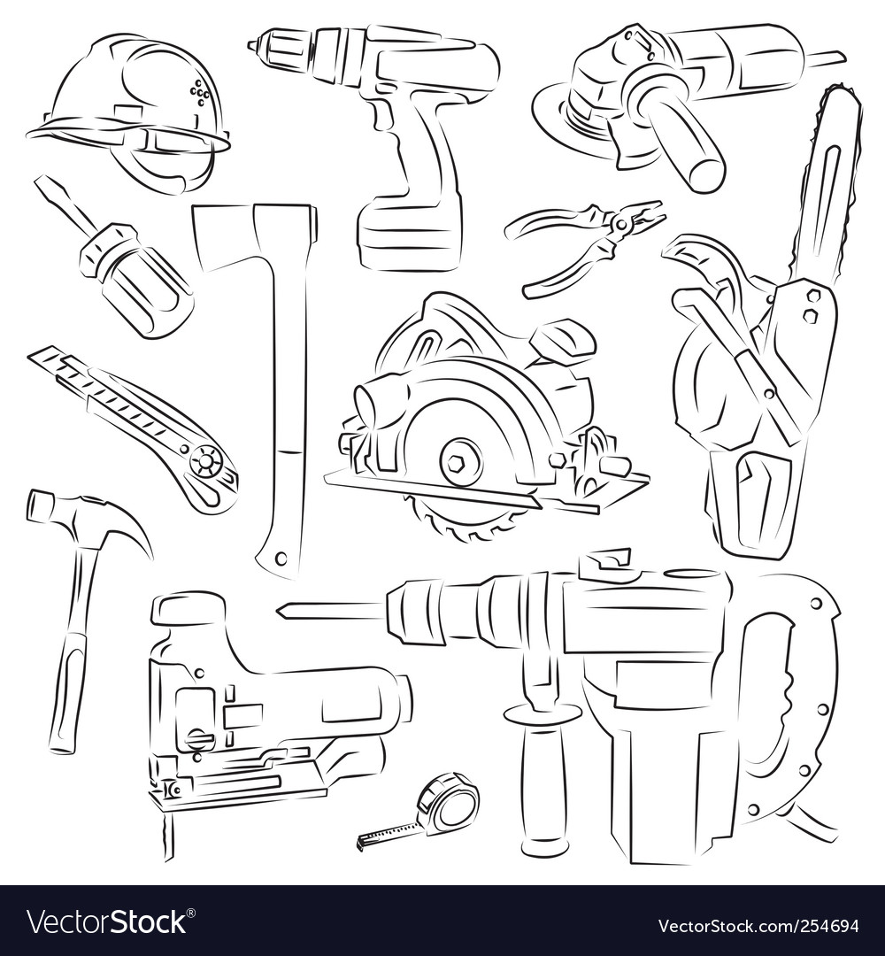 Builders tools vector | Price: 1 Credit (USD $1)