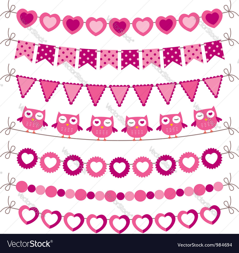 Bunting and garland pink set vector | Price: 1 Credit (USD $1)