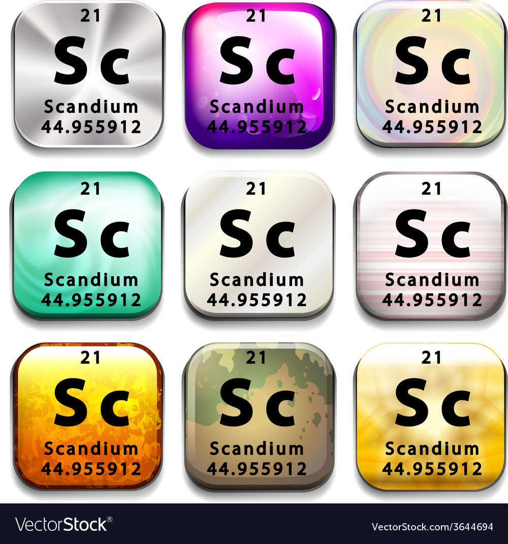 Buttons showing scandium and its abbreviation vector | Price: 1 Credit (USD $1)