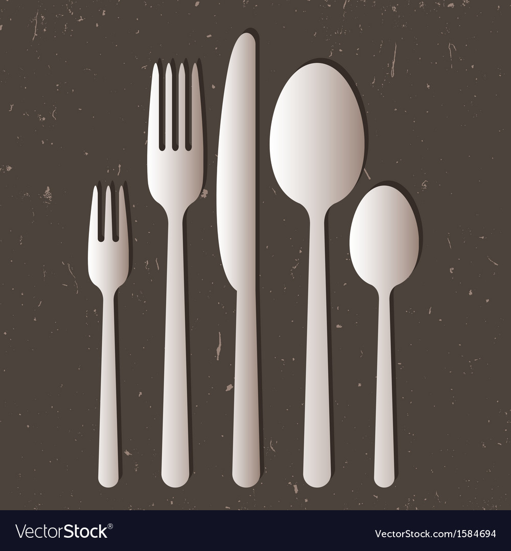 Cutlery on gray background vector | Price: 1 Credit (USD $1)