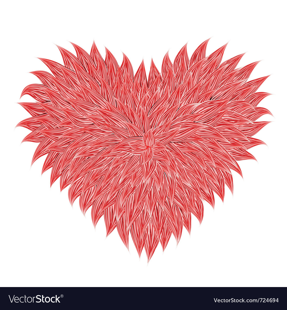 Fluffy red heart vector | Price: 1 Credit (USD $1)