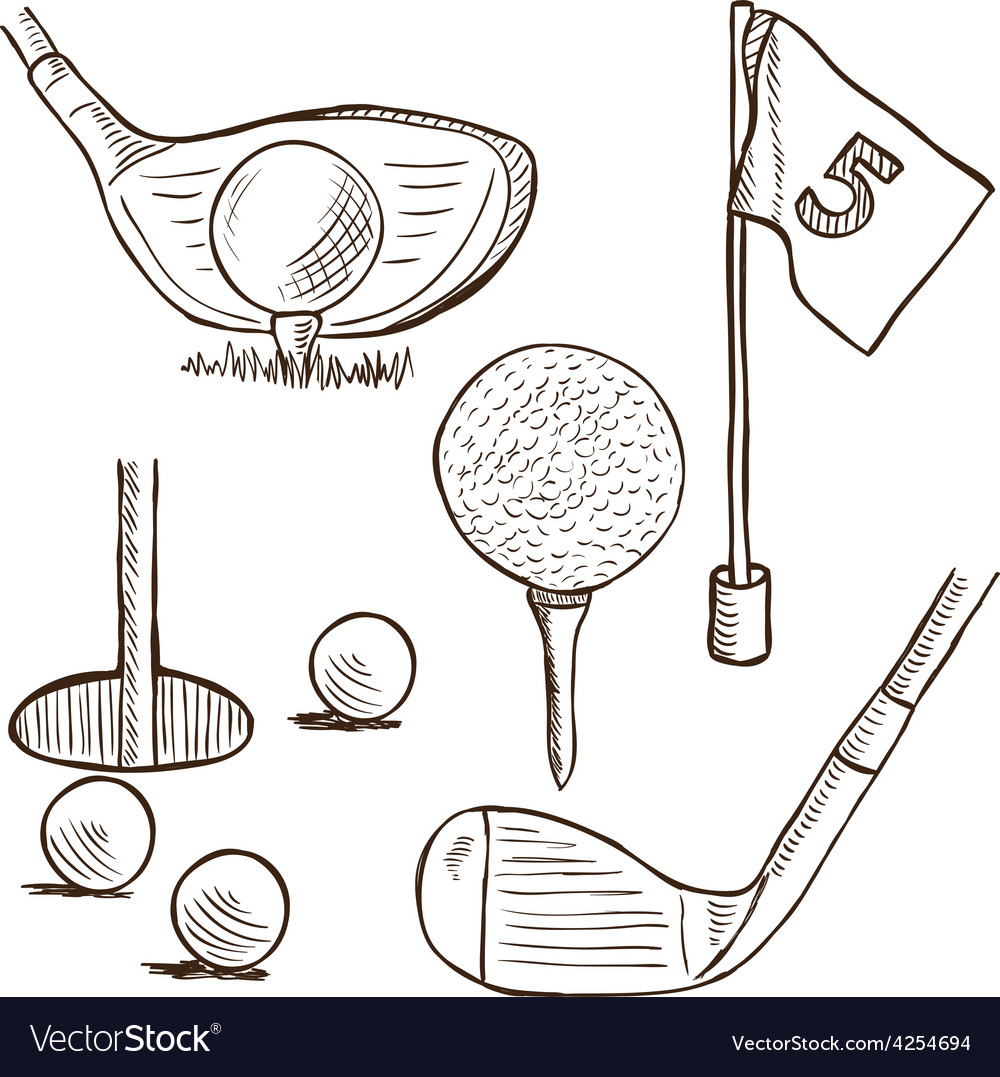Golf collection - doodle style vector | Price: 1 Credit (USD $1)