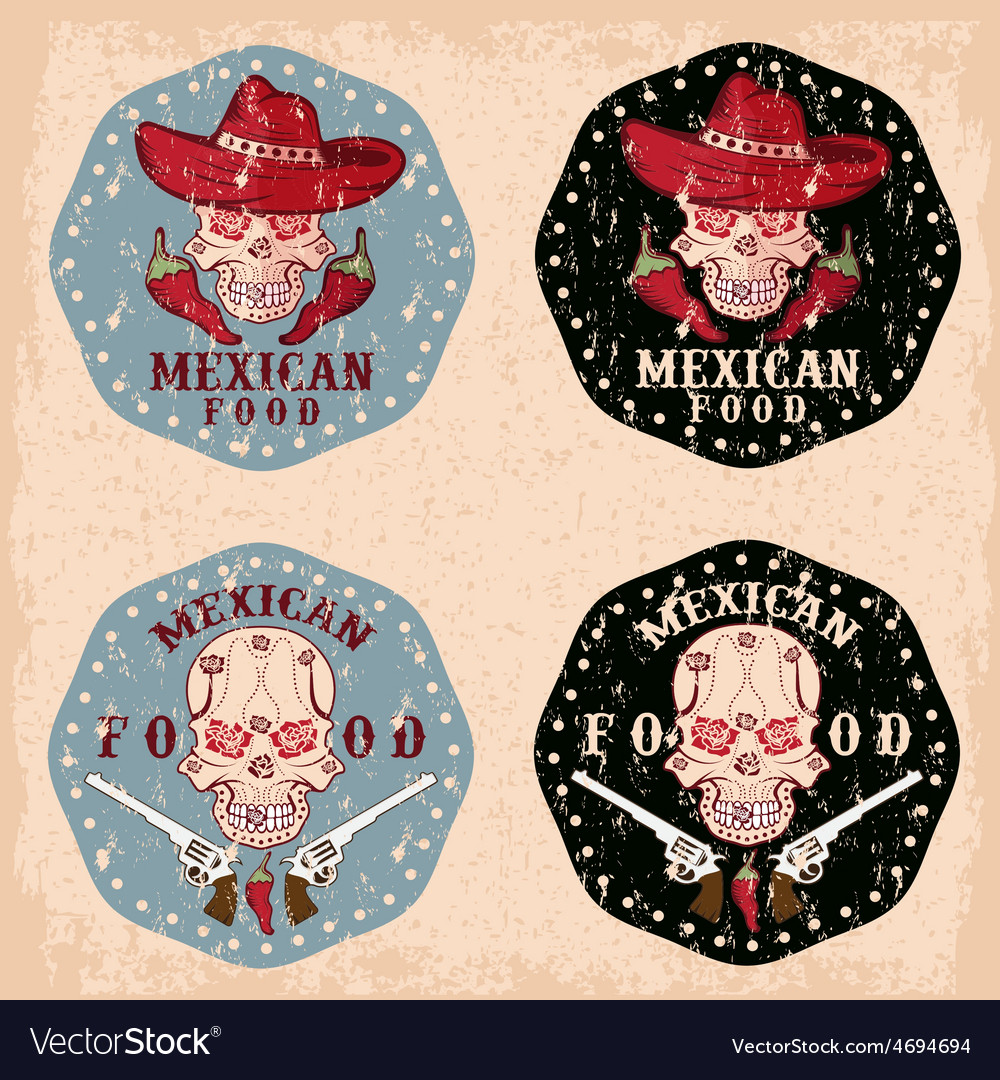 Grunge skull in a mexican sombrero with chili vector | Price: 3 Credit (USD $3)