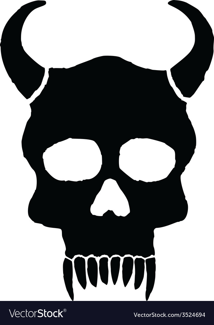 Monster skull with horns vector | Price: 1 Credit (USD $1)