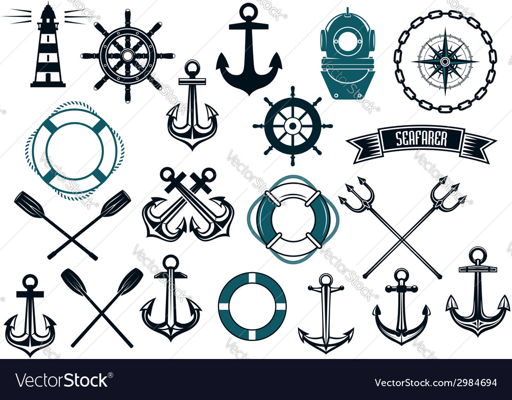 Nautical themed design elements vector | Price: 1 Credit (USD $1)