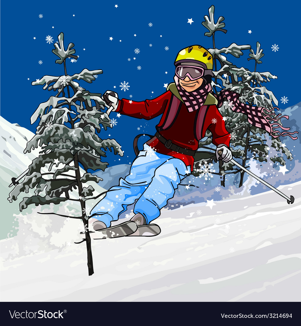 Skier skiing vector | Price: 3 Credit (USD $3)