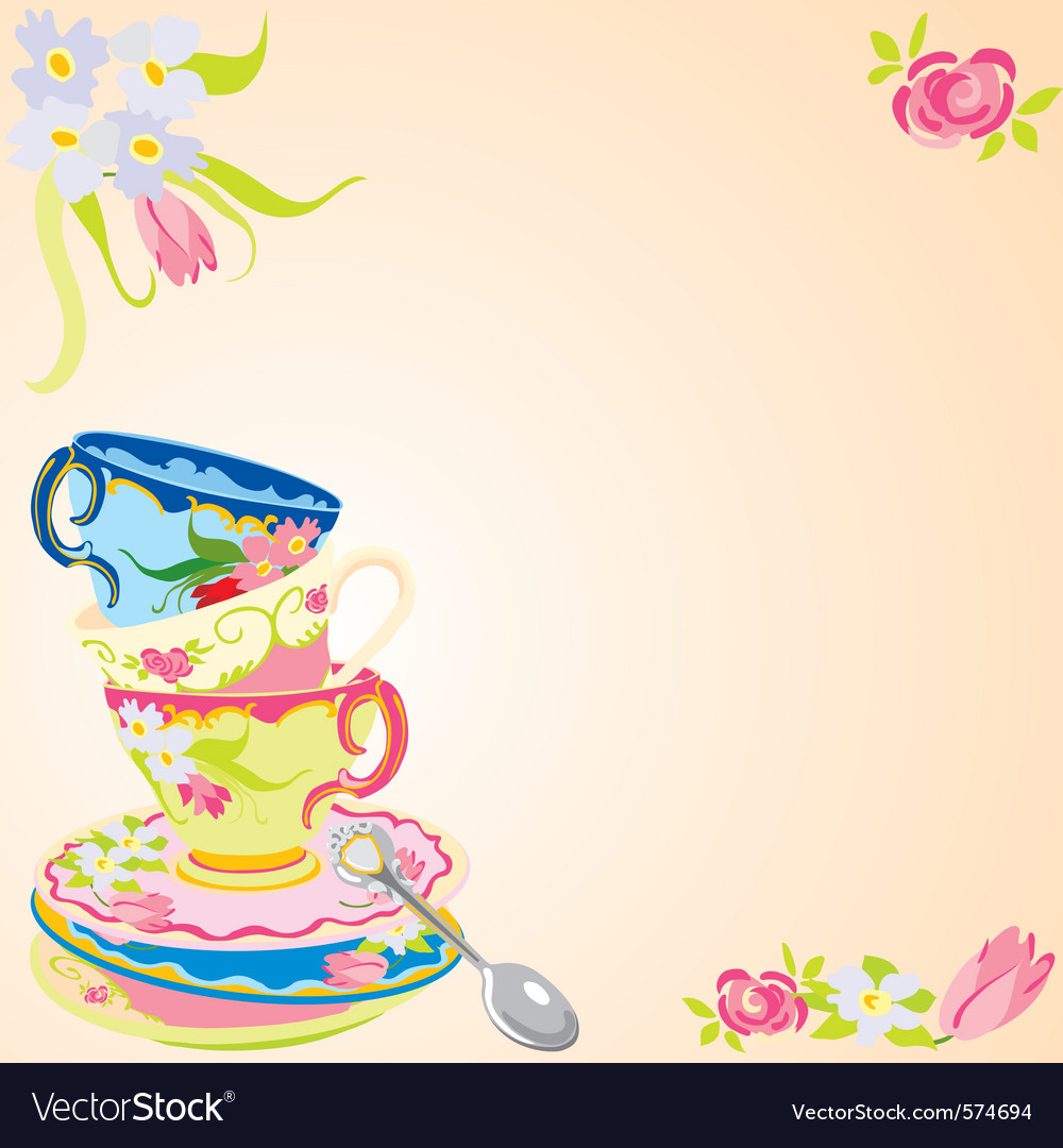 Tea party invitation vector | Price: 3 Credit (USD $3)