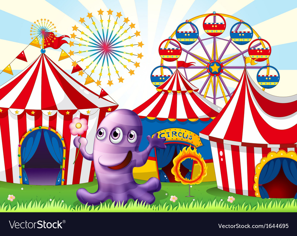 A lavender monster at the amusement park vector | Price: 3 Credit (USD $3)