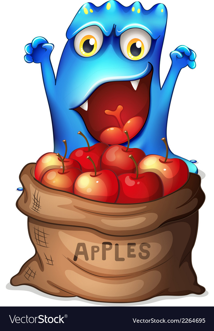 A monster and a sack of apples vector | Price: 1 Credit (USD $1)