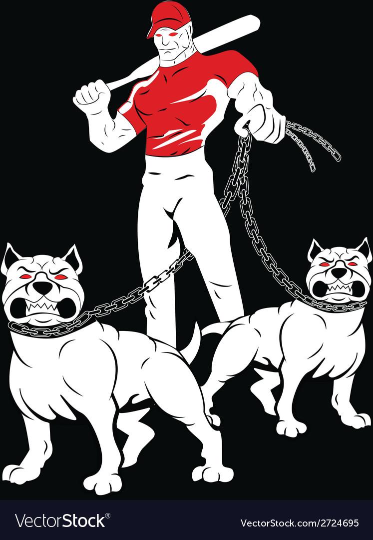 Angry man pitbulls vector | Price: 1 Credit (USD $1)